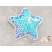 Estrela de tecido com lantejoulas Azul Bebê(1unidade)