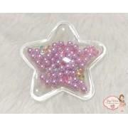 Estrela Transparente com Bolinhas lilás(1unidade)