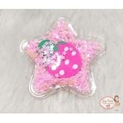 Estrela Transparente com estrelas Rosa(1unidade)