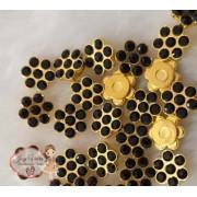 Flor com Strass Preto 20mm (30 unidades)