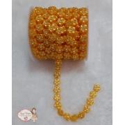 Flor de pérola Amarelo ouro 10mm com Strass (1 metro)