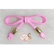 Laço ABS Rosa Bebê com ponteira Dourada (Par)