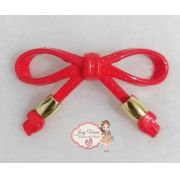 Laço ABS Vermelho com ponteira dourada(Par)