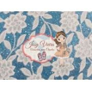 Lonita Azul com Flores Branca 24x40