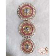 Mandala de Metal Dourado com Vermelho(Par)