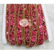 Manta Cascalho Pink com corrente 15mm(1metro)