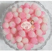 Pérola CRAQUELADA 500g Tam 12 Rosa com Branco
