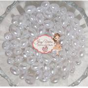 Pérola Oval Branca Tam 8 mm 500g