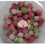 Pérolas CRAQUELADA Mesclada Verde e Rosa TAM 10 100g