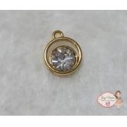 Pingente dourado com pedra 2 circulos e pedra cristal(1 unidade)