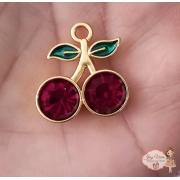 Pingente dourado com pedras Pink (1Unidade)