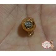 Pingente passante dourado com strass(1 unidade)