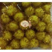 Pom pom Bolinha Festão Amarela 1.5cm  100 unidades