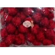 Pom pom Bolinha Festão Vermelha 1.5cm 100 unidades