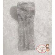 Rolinho de Manta Prata com cristal (1,20x6cm)
