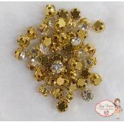 Strass Dourado para costura Tam 28 (100 unidades)