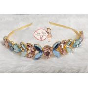 Tiara BANHADA  Dourada com pedras Azul, Rosa e Verde