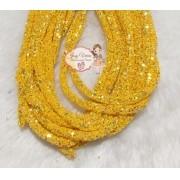 Tubo de PVC com  Glitter Amarelo Ouro (1m e 20cm)