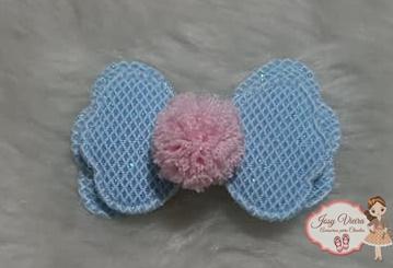 Aplique laço Azul Bebê com brilho 5,5cm (Unidade)