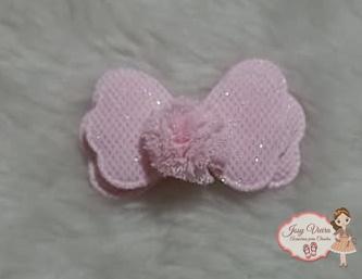 Aplique laço rosa com brilho 5,5cm (Unidade)
