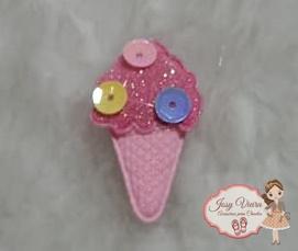Aplique sorvete Rosa 25x35mm (Unidade)