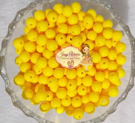 Bola Plástica leitosa 8mm Amarela 100g