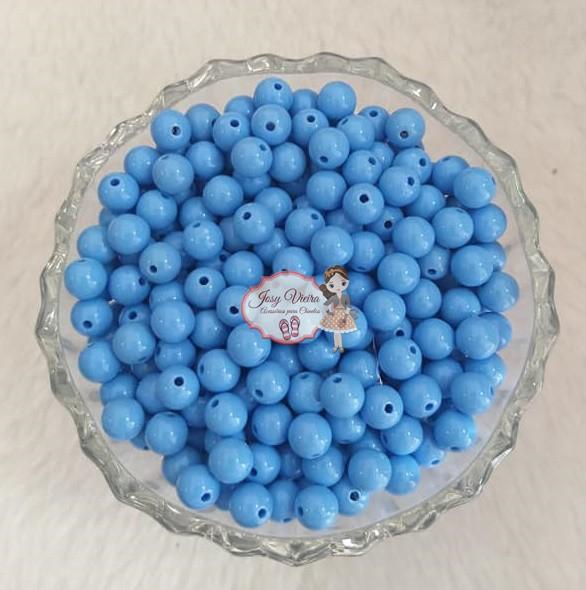 Bola Plástica leitosa 8mm Azul Claro 100g