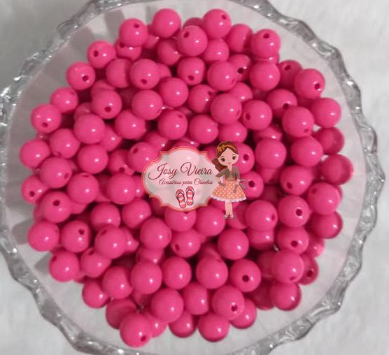 Bola Plástica leitosa 8mm Pink 100g