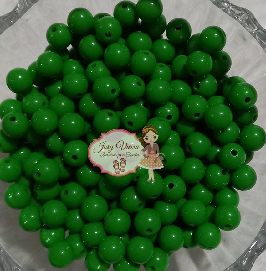 Bola Plástica leitosa 8mm Verde Escuro 100g