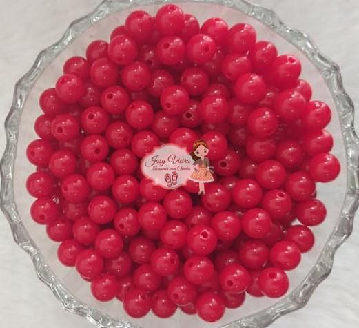 Bola Plástica leitosa 8mm Vermelha 100g