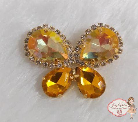 Borboleta BANHADA com Pedra  Amarela(Par)