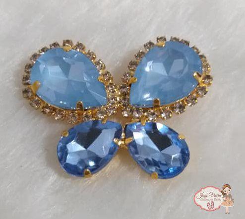 Borboleta BANHADA com Pedra  Azul bebê(Par)