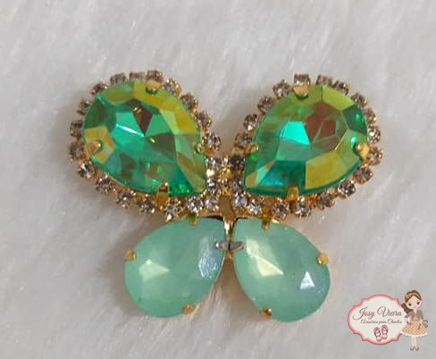 Borboleta BANHADA com Pedra  Verde(Par)