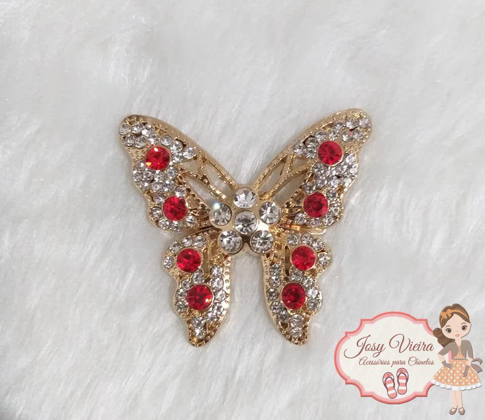 Borboleta Dourada com Pedra Vermelha (Par)
