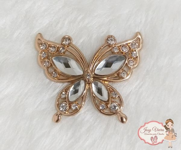 Borboleta dourada com pedras transparente(Par)