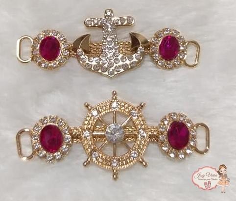 Cabedais Âncora e Leme com pedra Pink(Par)