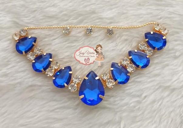Cabedal BANHADO Azul  COM PIERCING(Par)