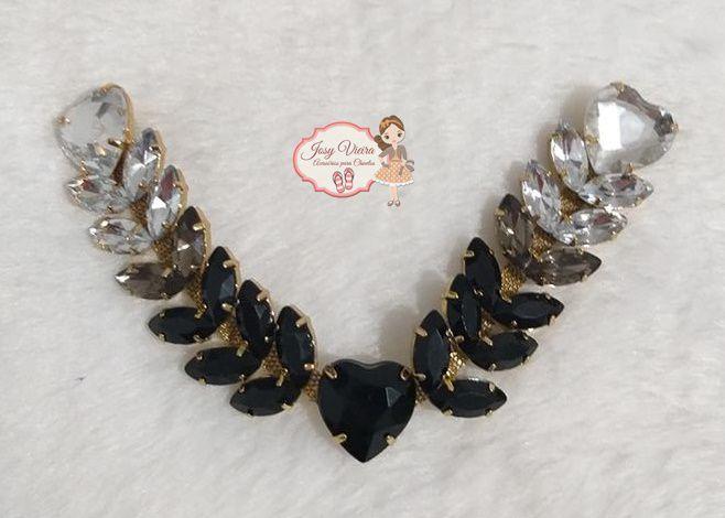 Cabedal BANHADO Degradê preto e cristal COM PIERCING(Par)