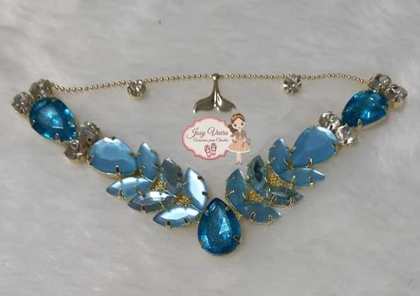 Cabedal BANHADO Sereia Azul BB COM PIERCING(Par)