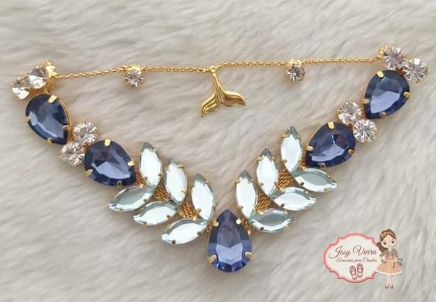 Cabedal BANHADO Sereia Azul Escuro COM PIERCING(Par)