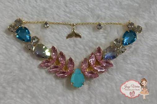 Cabedal BANHADO Sereia Rosa com azul COM PIERCING(Par)