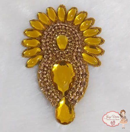 Cabedal Cocar Amarelo(Par)