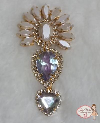 Cabedal Cocar BANHADO Nude pedra cristal(Par)