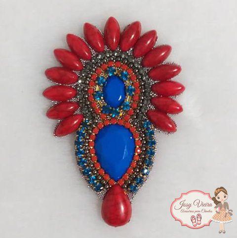 Cabedal Cocar Vermelho pedra Azul(Par)