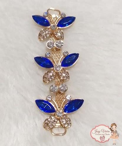 Cabedal Lateral Borboleta Azul (Par)