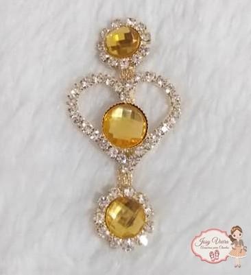 Cabedal Lateral Coração com pedra Amarela (Par)
