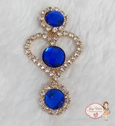 Cabedal Lateral Coração com pedra Azul (Par)