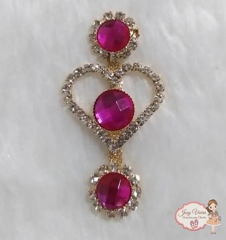 Cabedal Lateral Coração com pedra Pink (Par)
