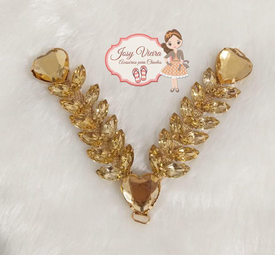 Cabedal pedraria com coração Dourado (par)