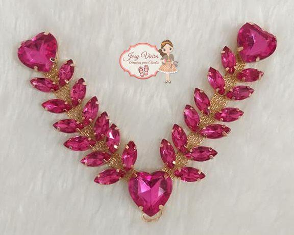 Cabedal pedraria com coração Pink (par)